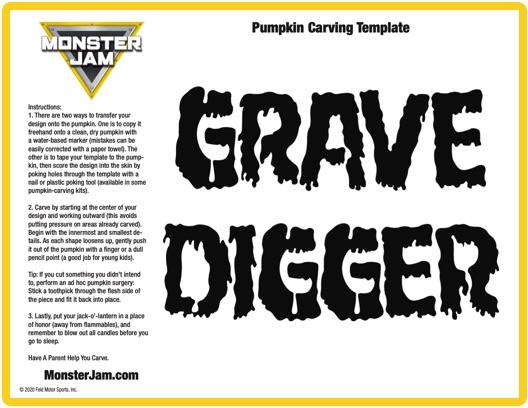 Grave Digger Pumpkin Stencil