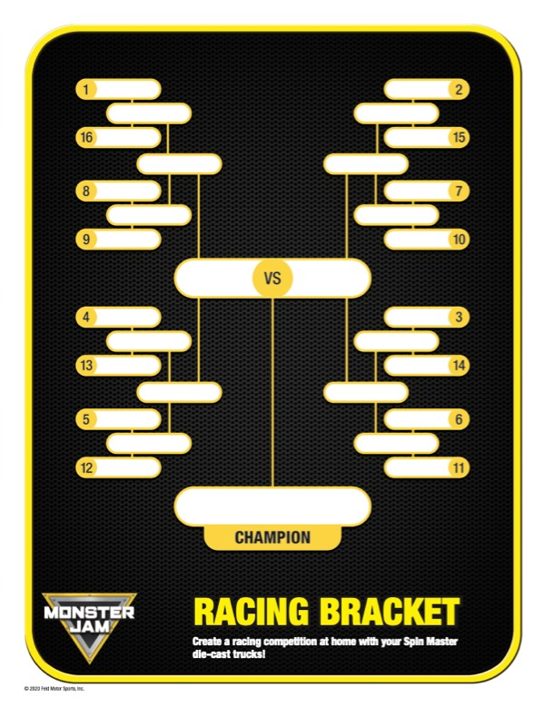 MONSTER JAM RACING BRACKET