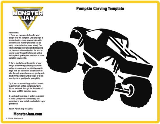 Monster Jam truck 2 pumpkin stencil