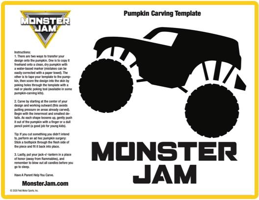 Monster Jam truck 1 pumpkin stencil