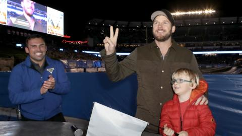 Chris Pratt and son Jack. Photo by Ari Perilstein/Getty Images