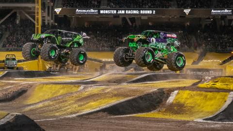 Monster Energy and Grave Digger. Photo by Susan Woolley.