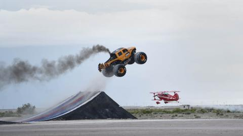BroDozer jumps airplane. Photo by Fred Hayes - Courtesy Discovery