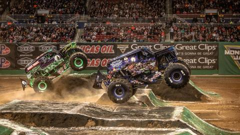 Monster Jam racing (Photo by Jen Bay)