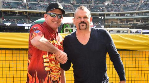 Chuck Liddell and Max-D Fire driver Tom Meents (Photo by Gregg DeGuire/Getty Images)