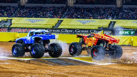 Monster Jam racing (Photo by Eric Stern)