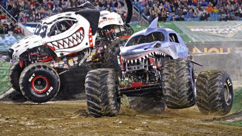 Monster Jam racing (Photo by Dave DeAngelis)